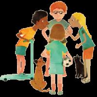 חבורת ילדים מתוך גליון אדם צעיר בנושא חבורה