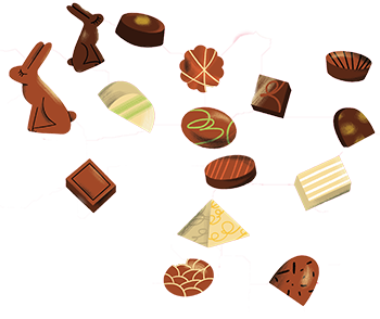 שוקולדים מתוך גיליון שוקולד של מגזין אדם צעיר. איור: חן ליבמן