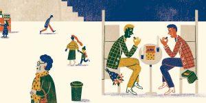 איור: דיאנה פרוקופץ מתוףך הסיפור 'עוגיות' על ספרו של דאגלס אדמ, מדריך הטרמפיסט לגלקסיה