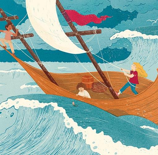 איור מתוך הסיפור 'ההרפתקה' מתוך גיליון גן-שעשועים של אדם צעיר ירחון חוויתי לילדות ולילדים. איור: יעל אבלרט